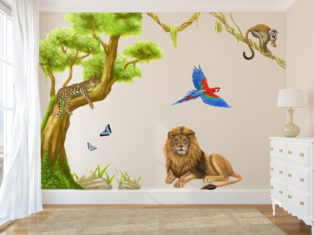 Jungle Wall Decals With Large Tree Wall Stickers