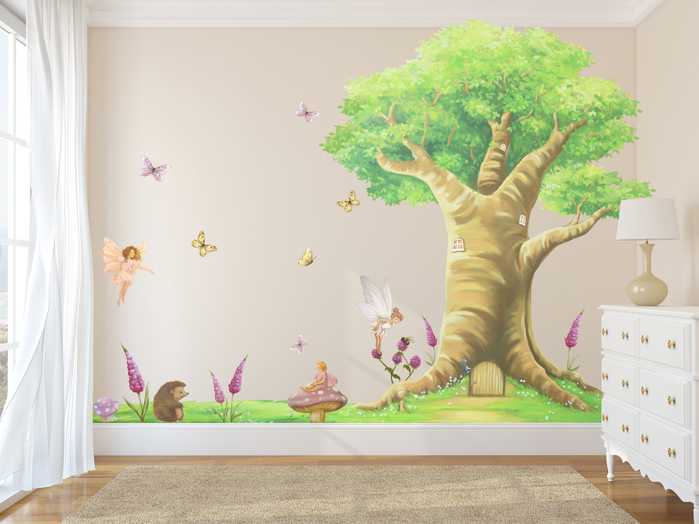 8b3dcc6543 FULL WALL MAGICAL FAIRY TREE SET WALL STICKERS