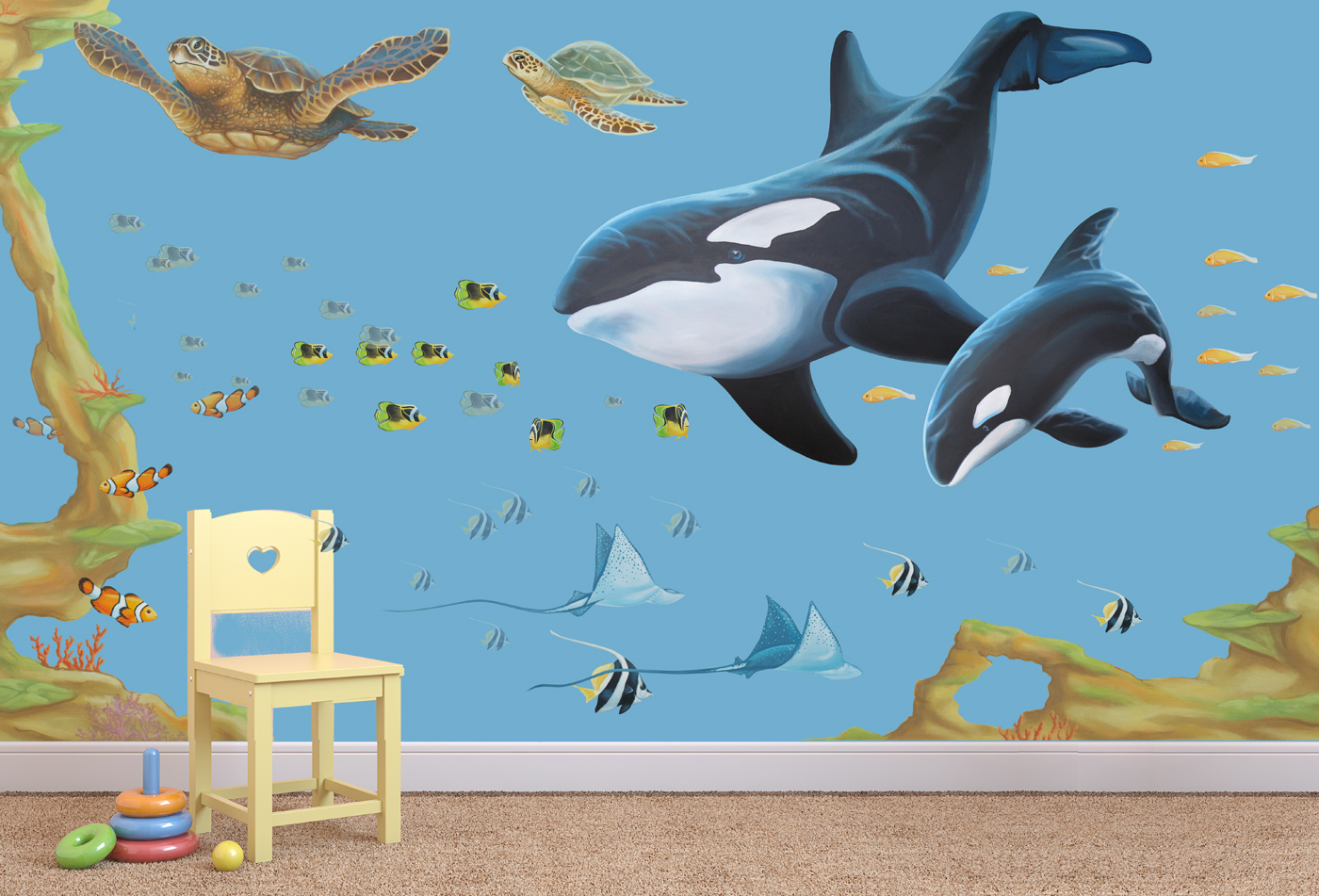Under The Sea Wall Stickers Whale Set Inspire Murals Room Set