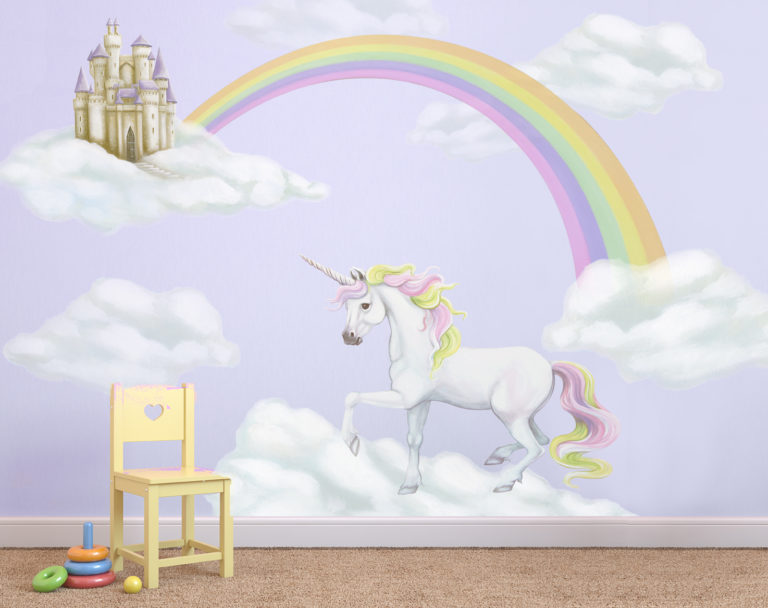 rainbow unicorn wall mural