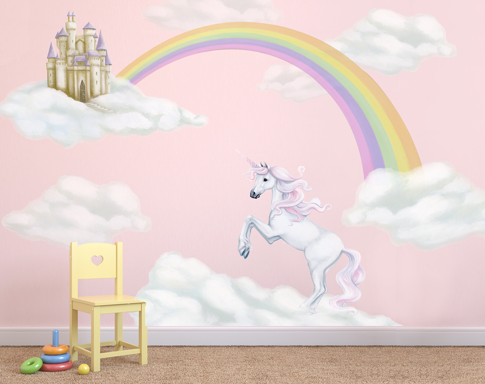 Delightful Unicorn U0026 Rainbow Wall Decal