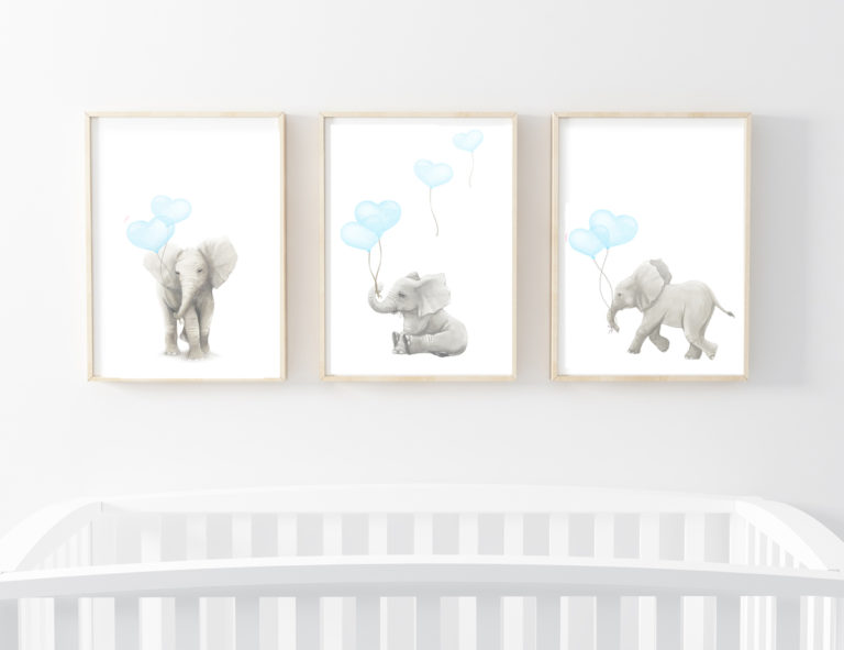 ELEPHANT ART PRINTS SET