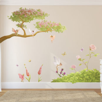 fairy & flowers wall set