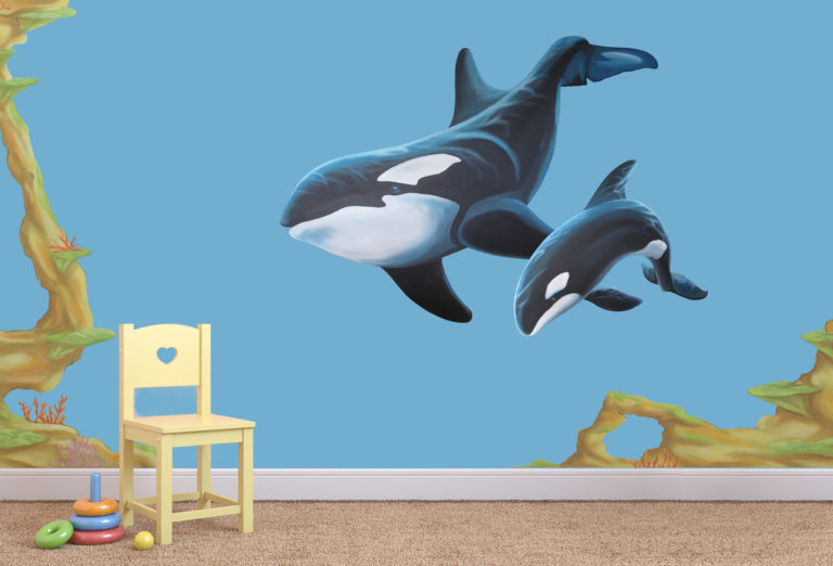 whale and baby wall decal